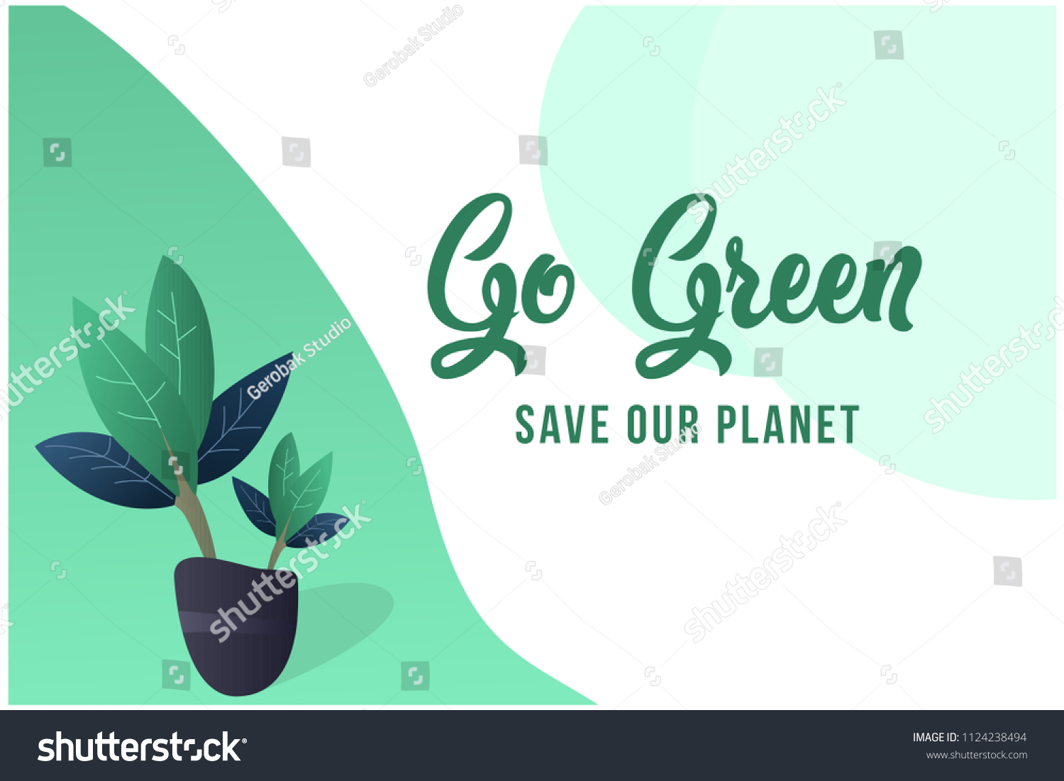 Go Green Green Plants Pots Background Stock Vector Royalty Free 1124238494