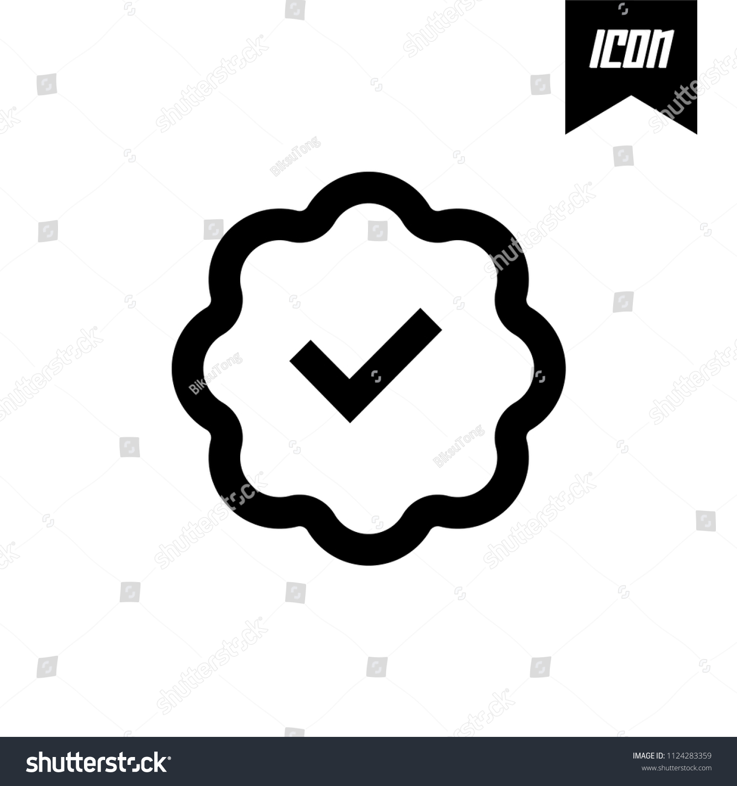 Verified Account Icon Flat Design Vector Stock Vector Royalty Free