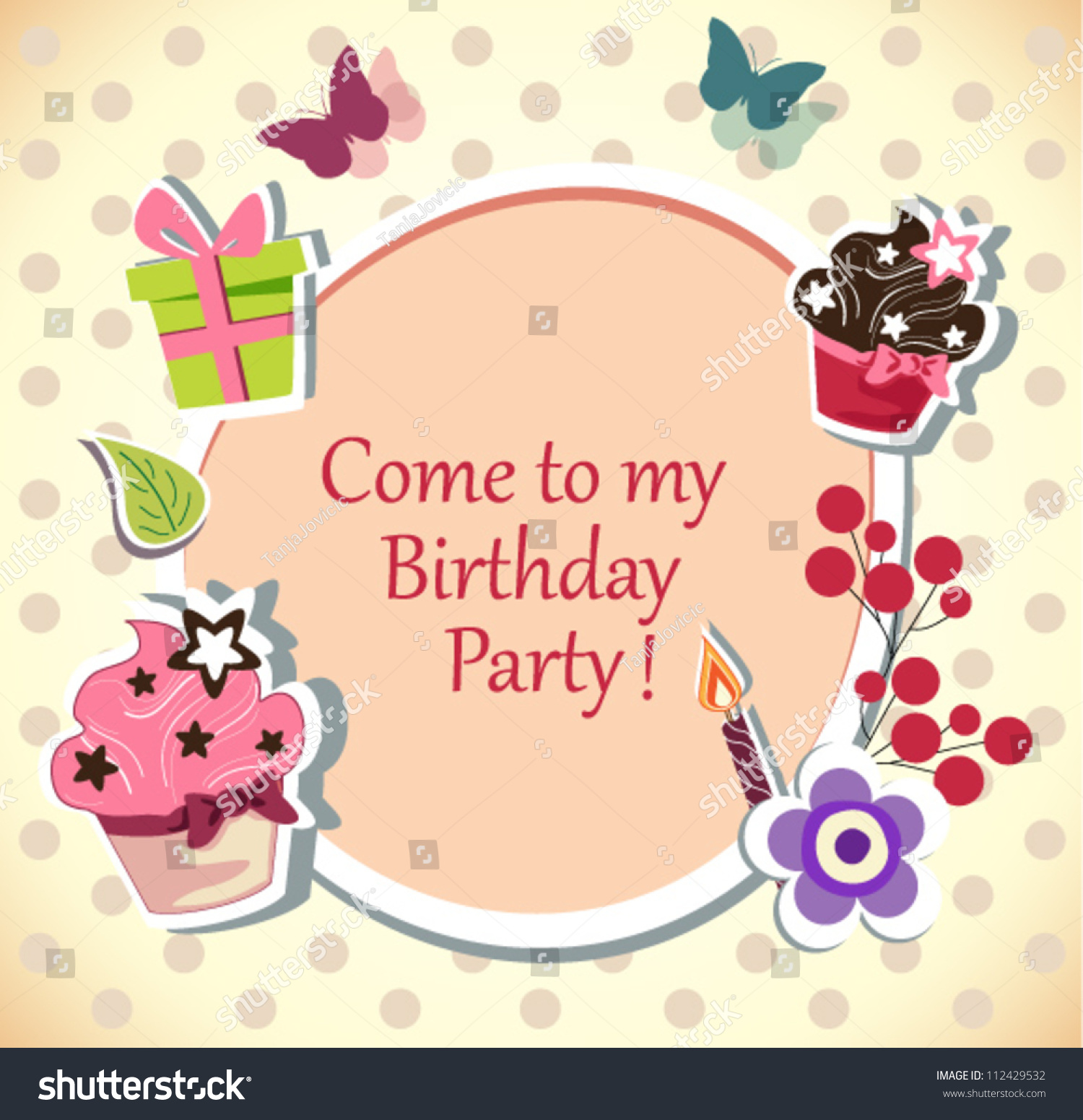 Birthday Party Invitation Card Stock Vector 112429532 - Shutterstock