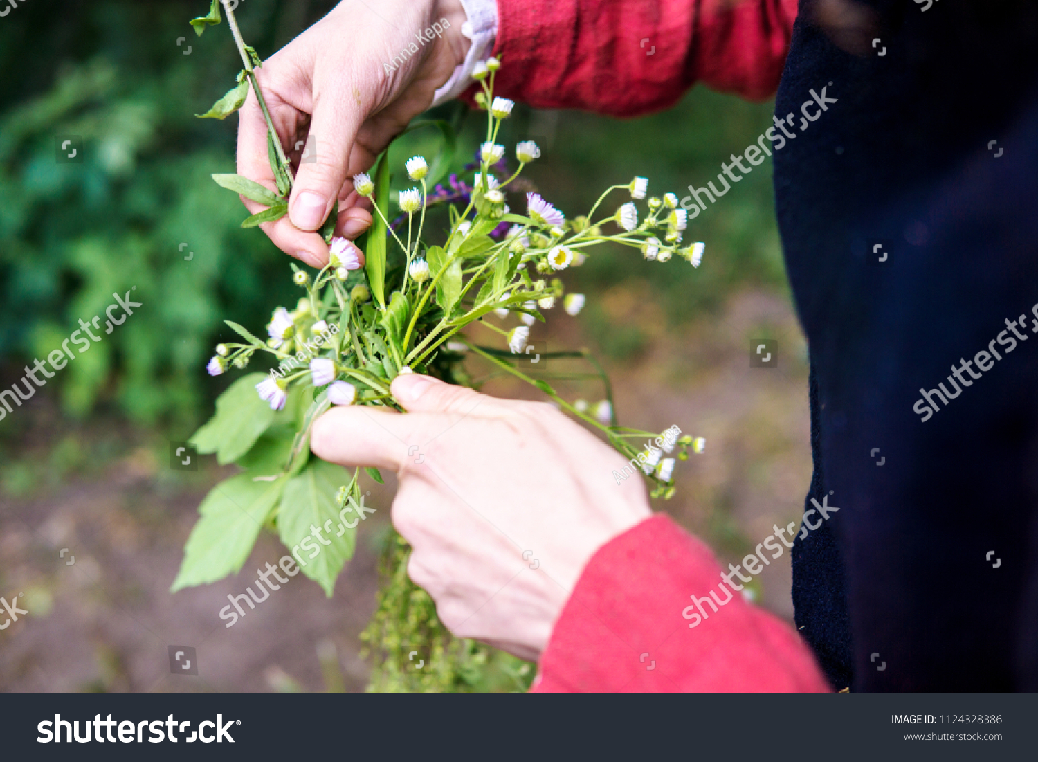Making Festive Flower Wreath Circlet Flowers Stock Photo Edit Now