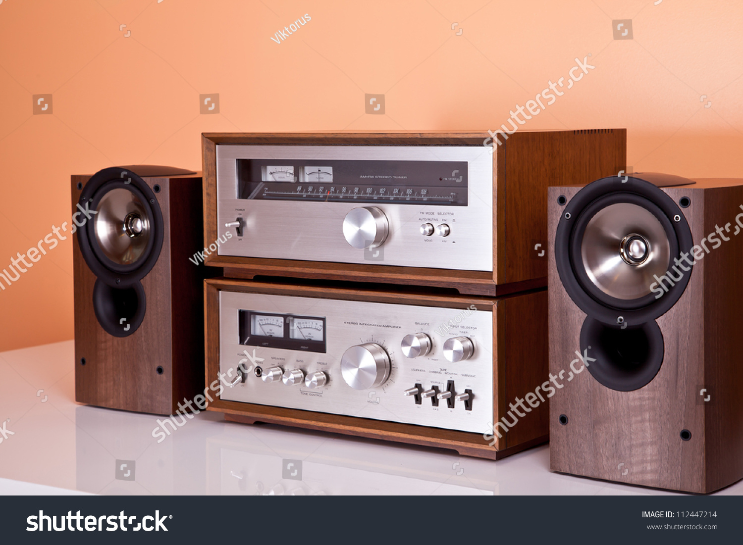Vintage Hifi Stereo Amplifier Tuner Speakers Stock Photo 112447214 ...