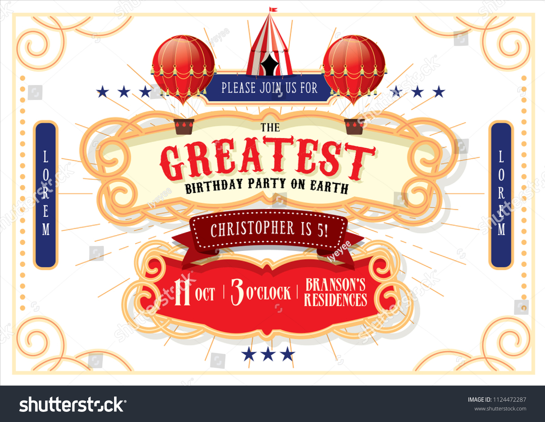 Circuscarnivalfairground Birthday Invitation Card Template Design ...