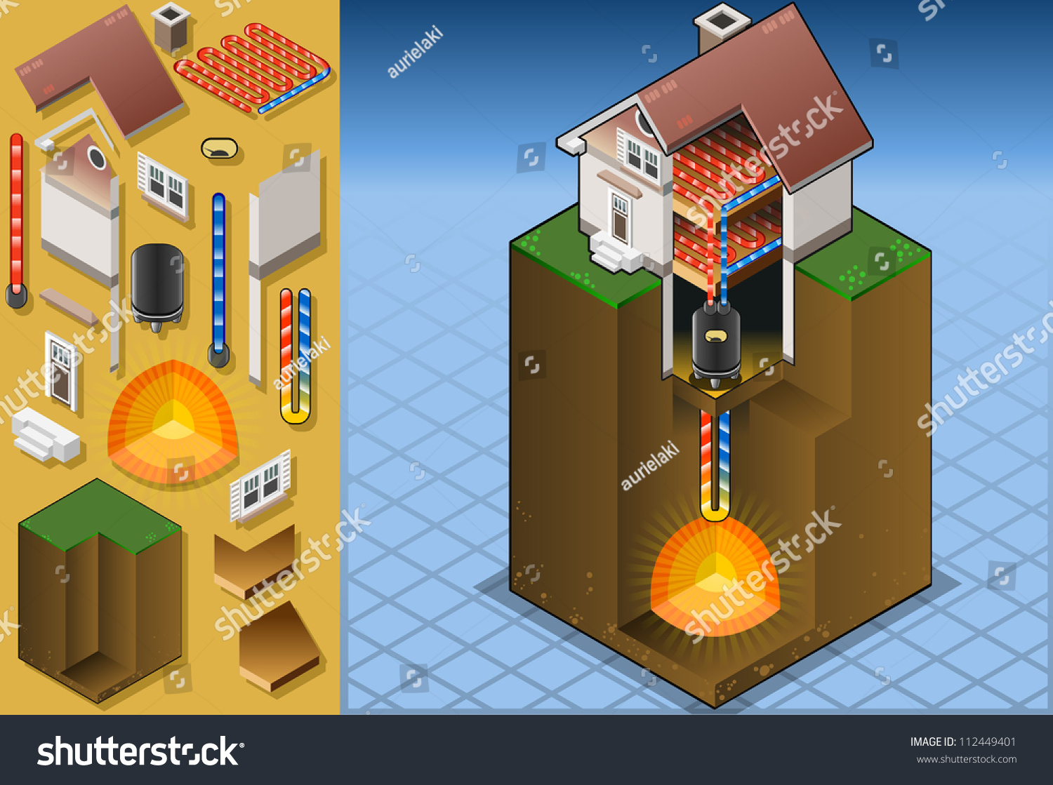Geothermal Earth Energy Heat Pump Diagram. 3D Isometric Infographic of ...