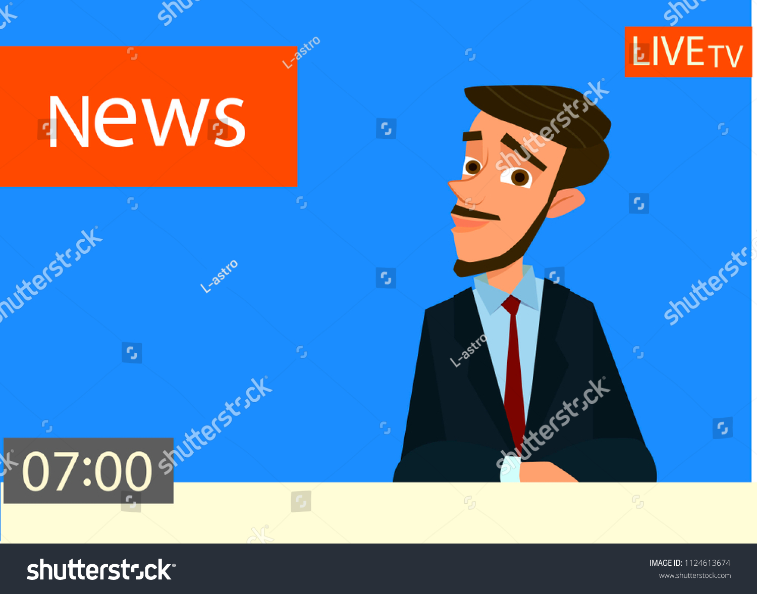 News Anchor On Tv Breaking News Stock Vector Royalty Free