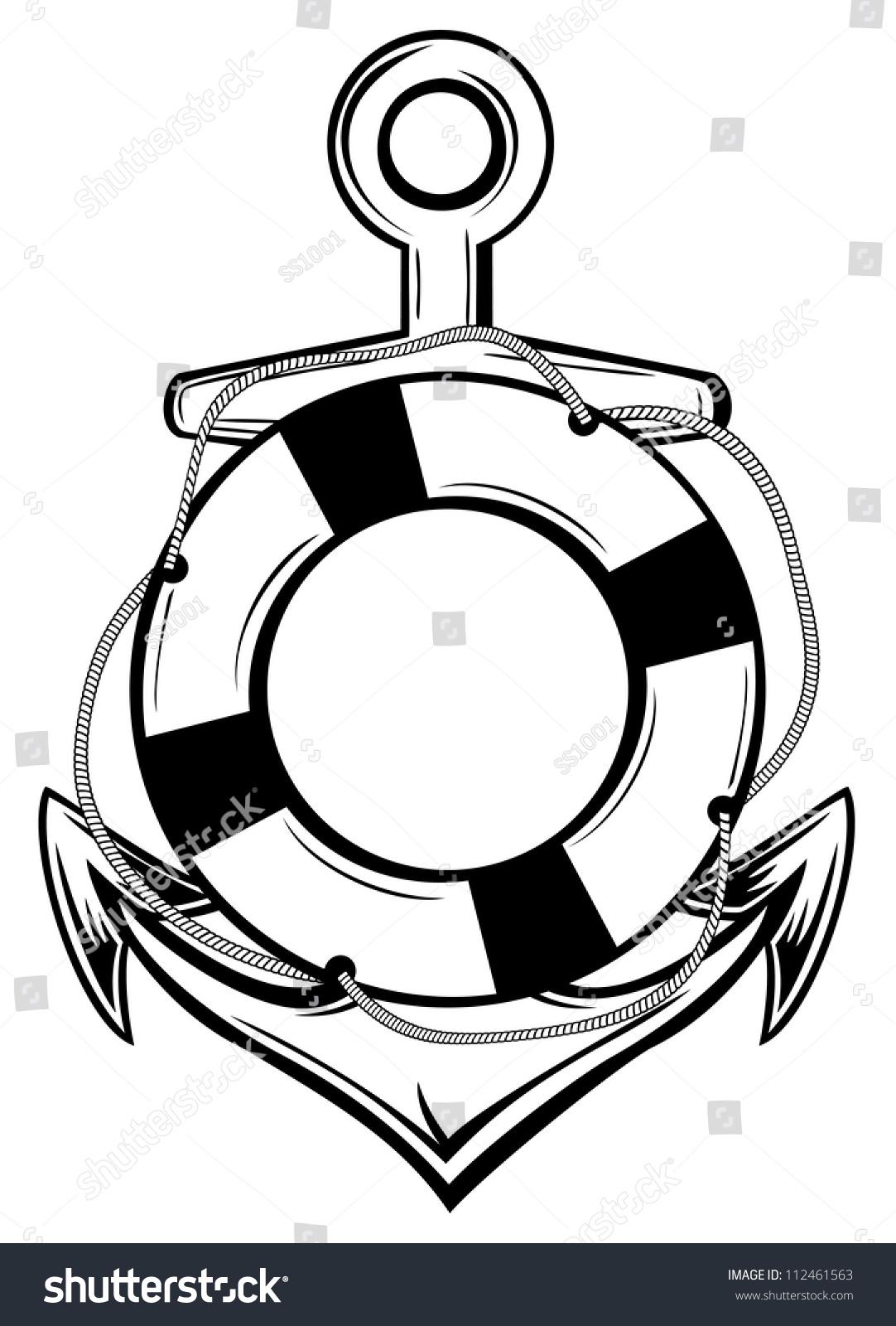 Vector Illustration Emblem Anchor Ringbuoy Sketch Stock