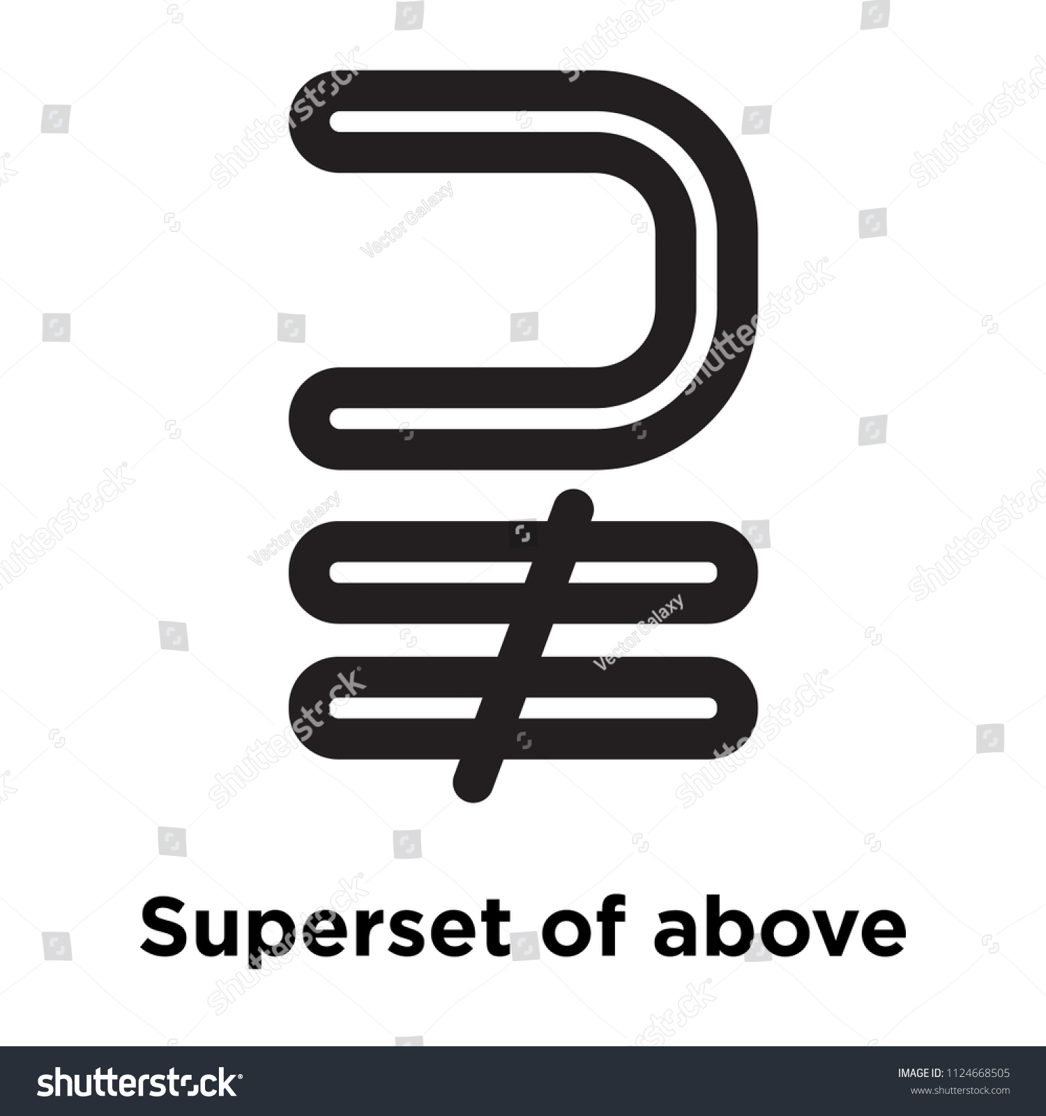 Superset Above Not Equal Symbol Icon Stock Vector Royalty Free