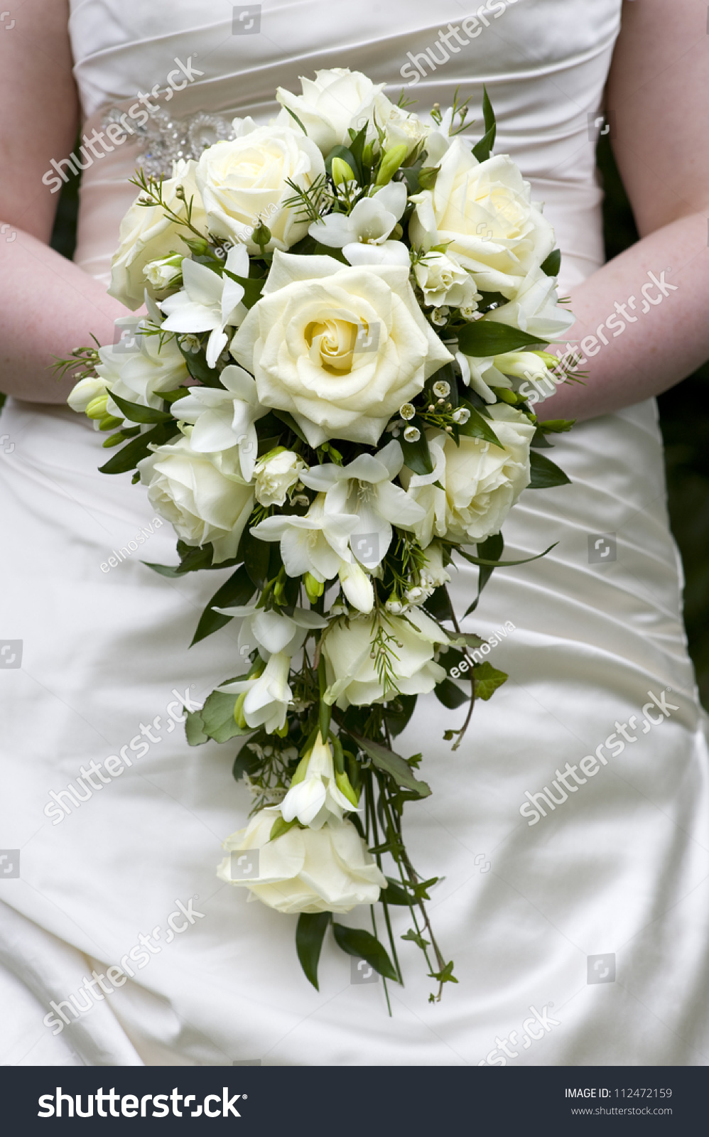 Bride Holding Wedding Bouquet White Roses Stock Photo Edit Now