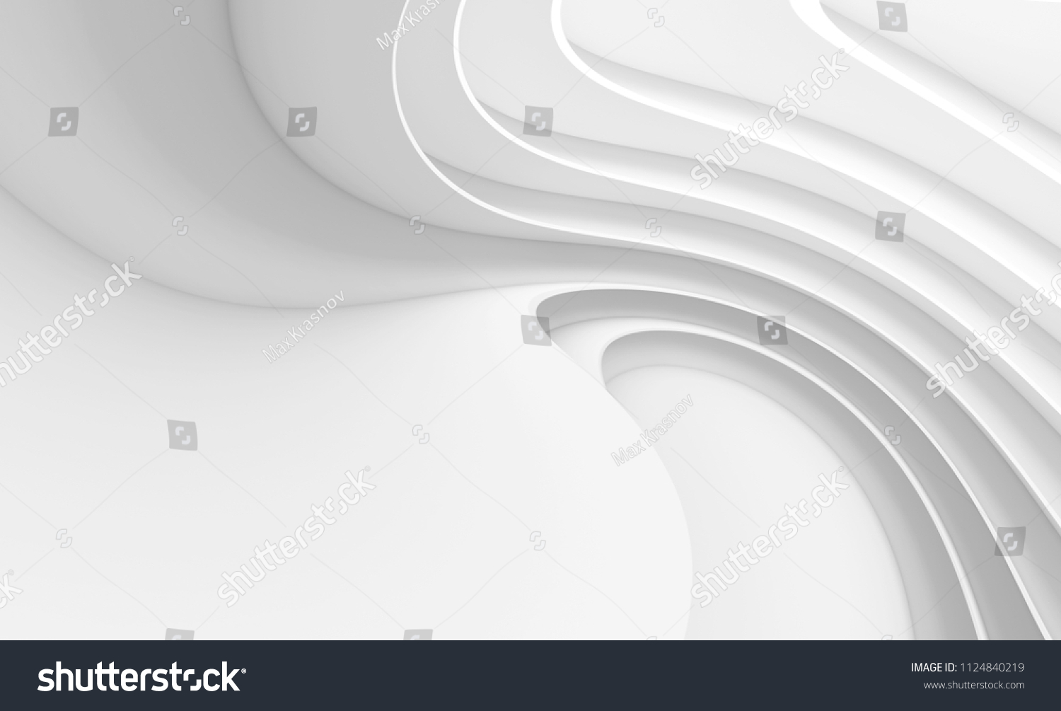 Easy to clean white 3d Rendered Wall Mural