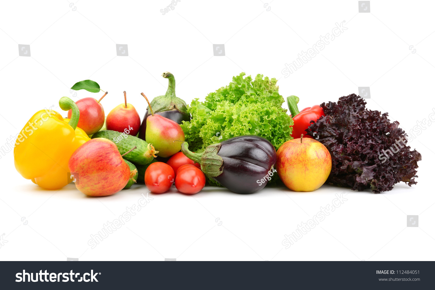 Collection Fruits And Vegetables Isolated On A White ...