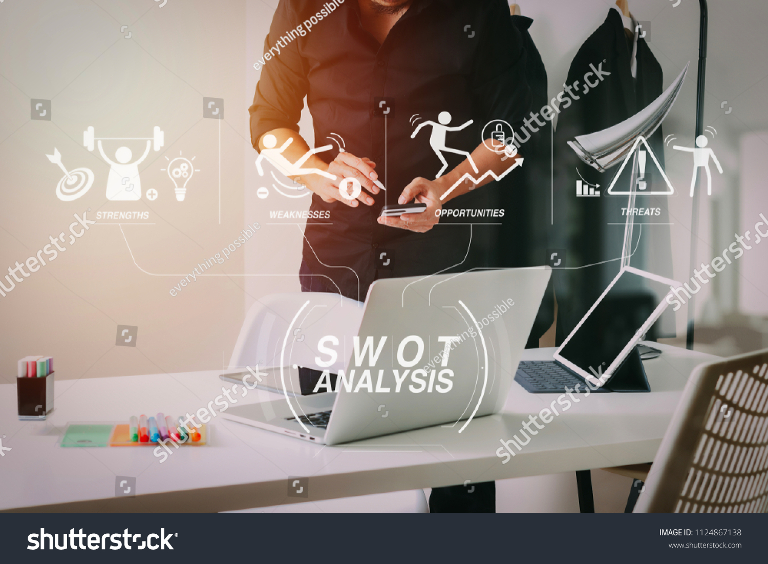 Swot Analysis Virtual Diagram Strengths Weaknesses Stock Photo Edit Now 1124867138