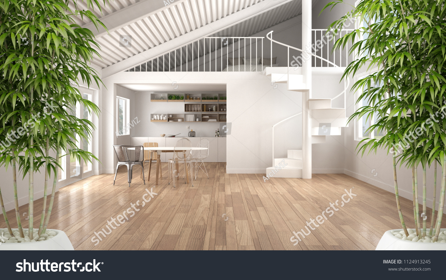 Zen Interior Potted Bamboo Plant Natural Stock Illustration