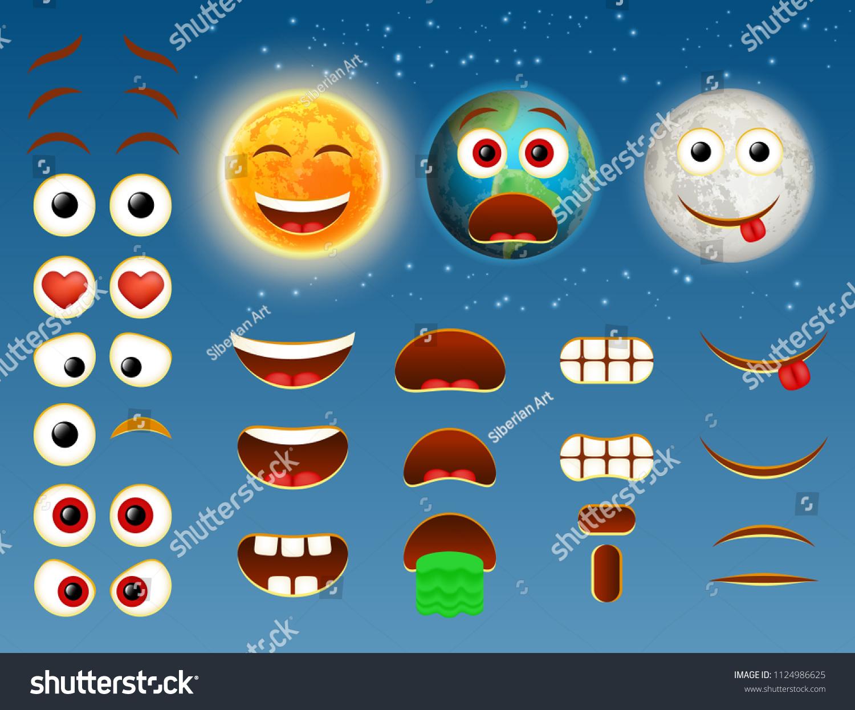 Sun Earth Planet Moon Emoji Maker Stock Vector (Royalty Free