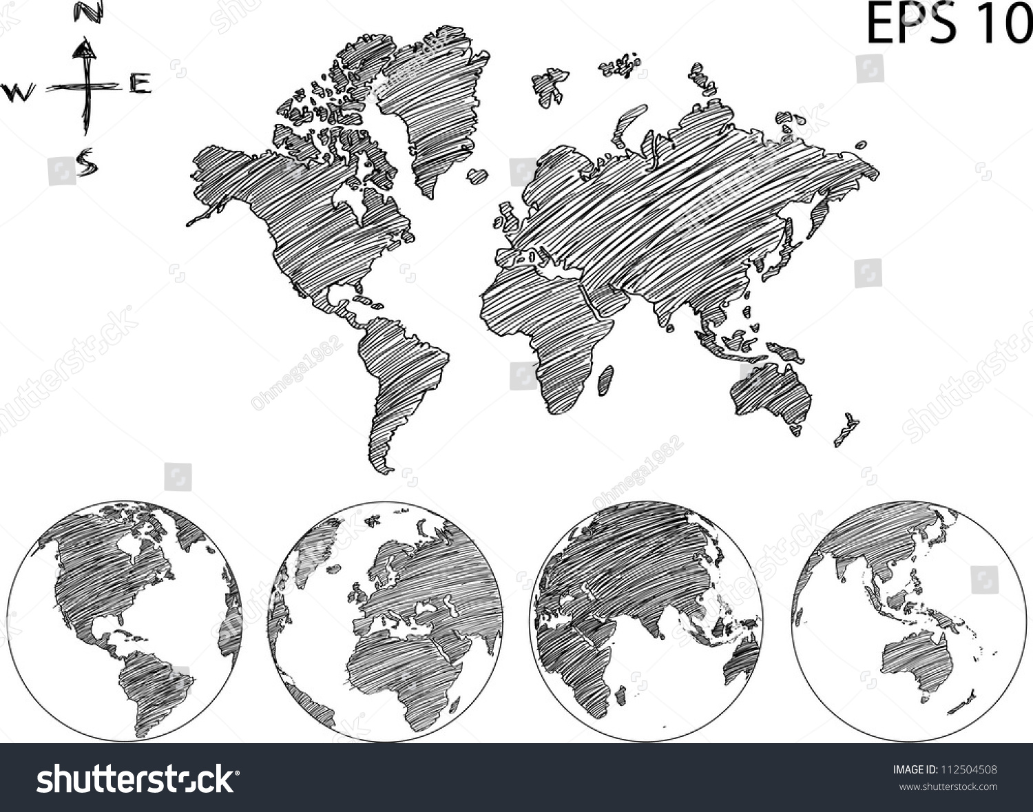 Line Drawing World Map : Earth globe world map detail vector stock