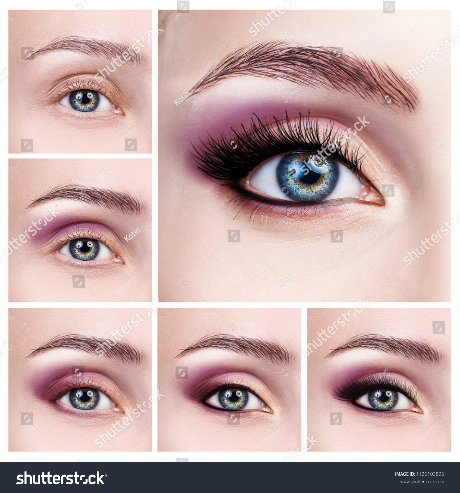 Collage Female Eyes Makeup Steps Applying Stock Photo Edit Now