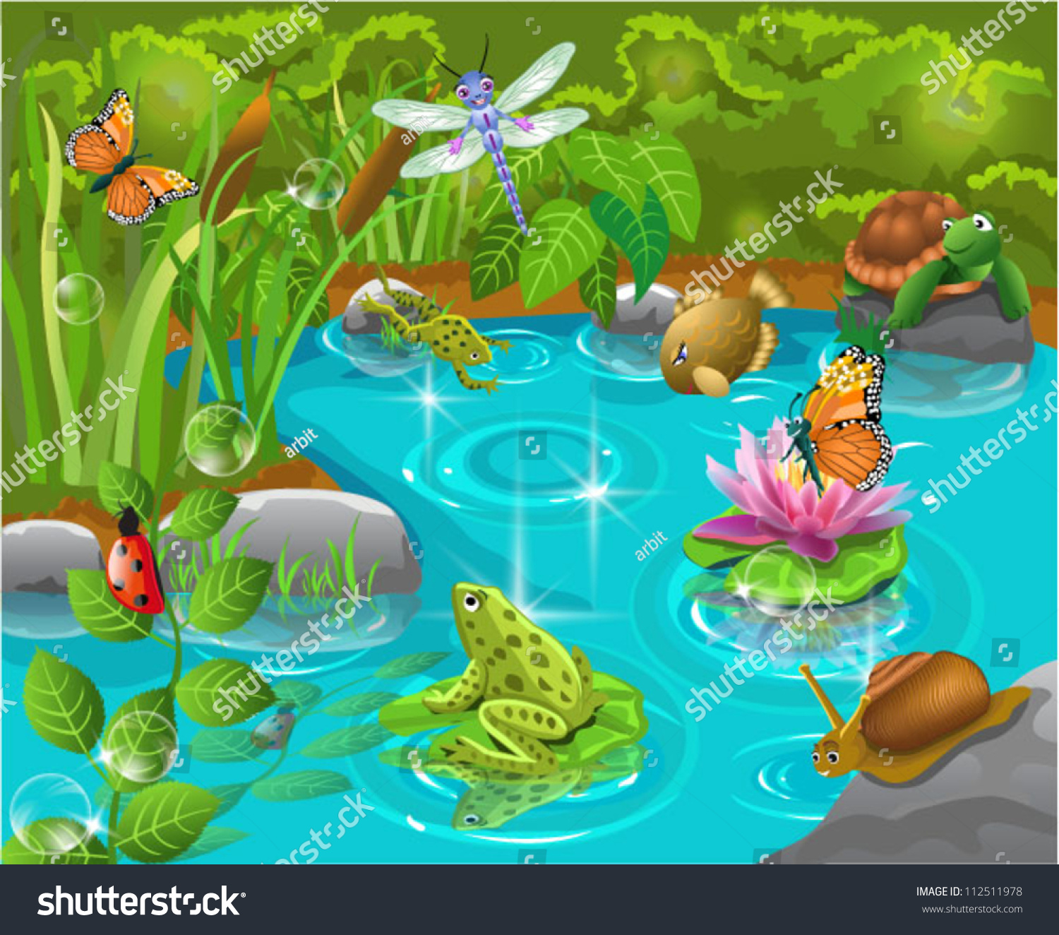 Animals pond stock vector 112511978 shutterstock for Pond animals