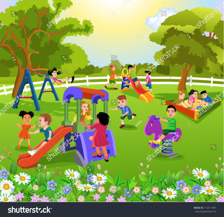 Happy Children Playing Stock Vector 112511981 - Shutterstock