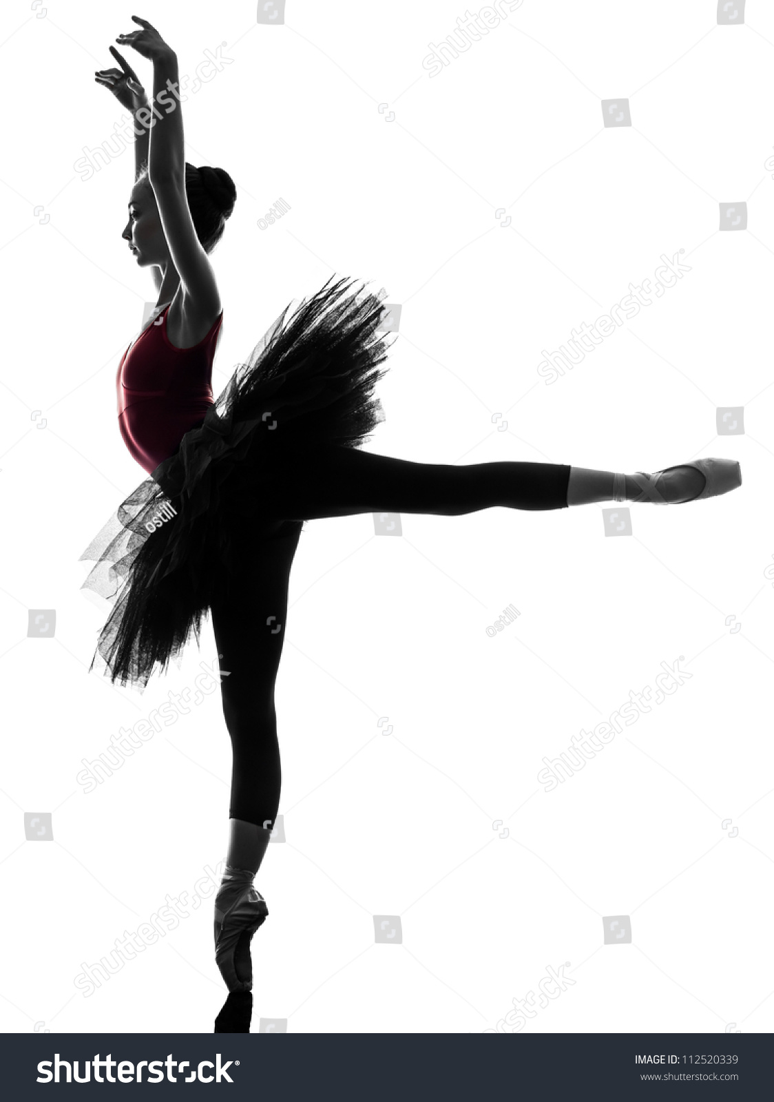 One Caucasian Young Woman Ballerina Ballet Dancer Dancing