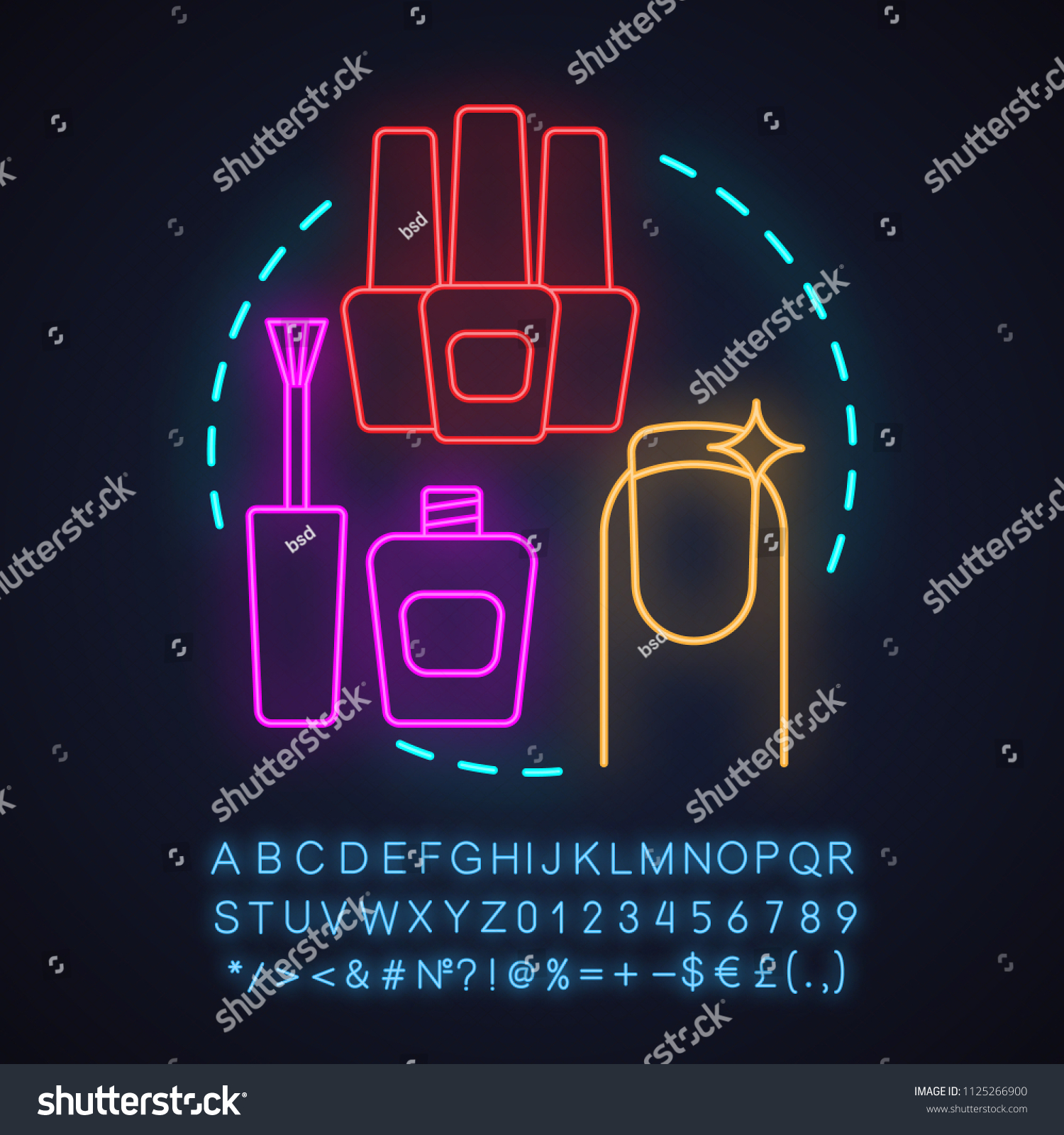 Nail Salon Neon Light Concept Icon Stock Vector (Royalty