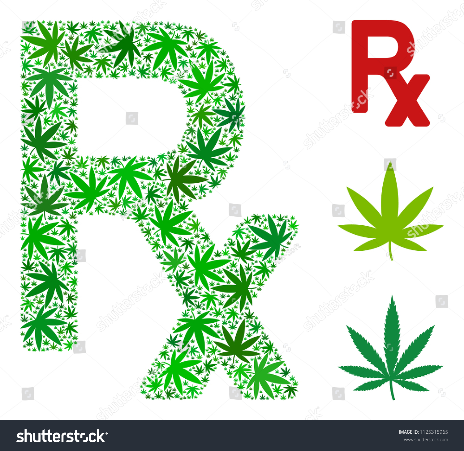 Rx Symbol Mosaic Cannabis Leaves Different Stock Vector Royalty