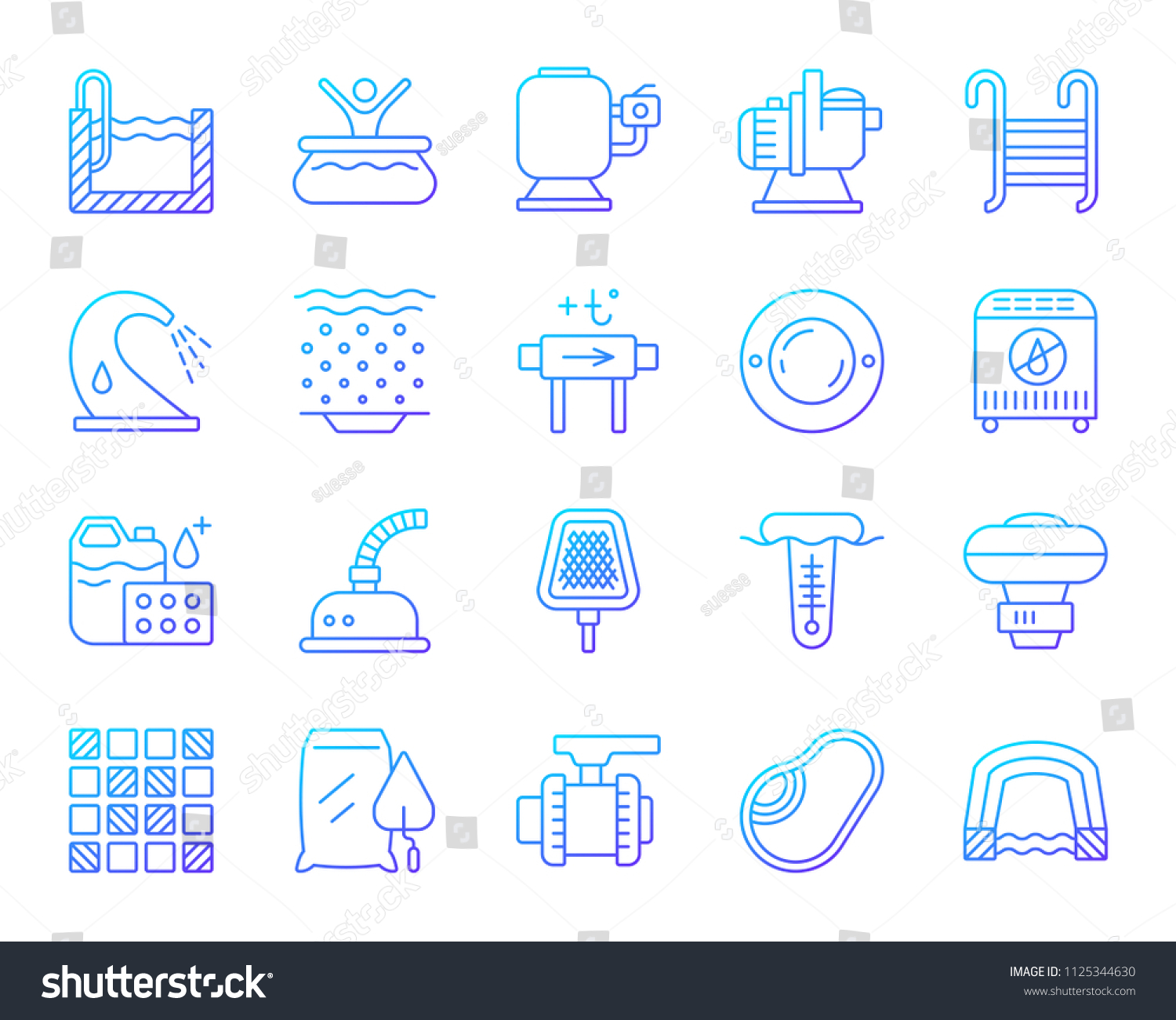 Swimming Pool Equipment Thin Line Icons Stock Vector Royalty Free