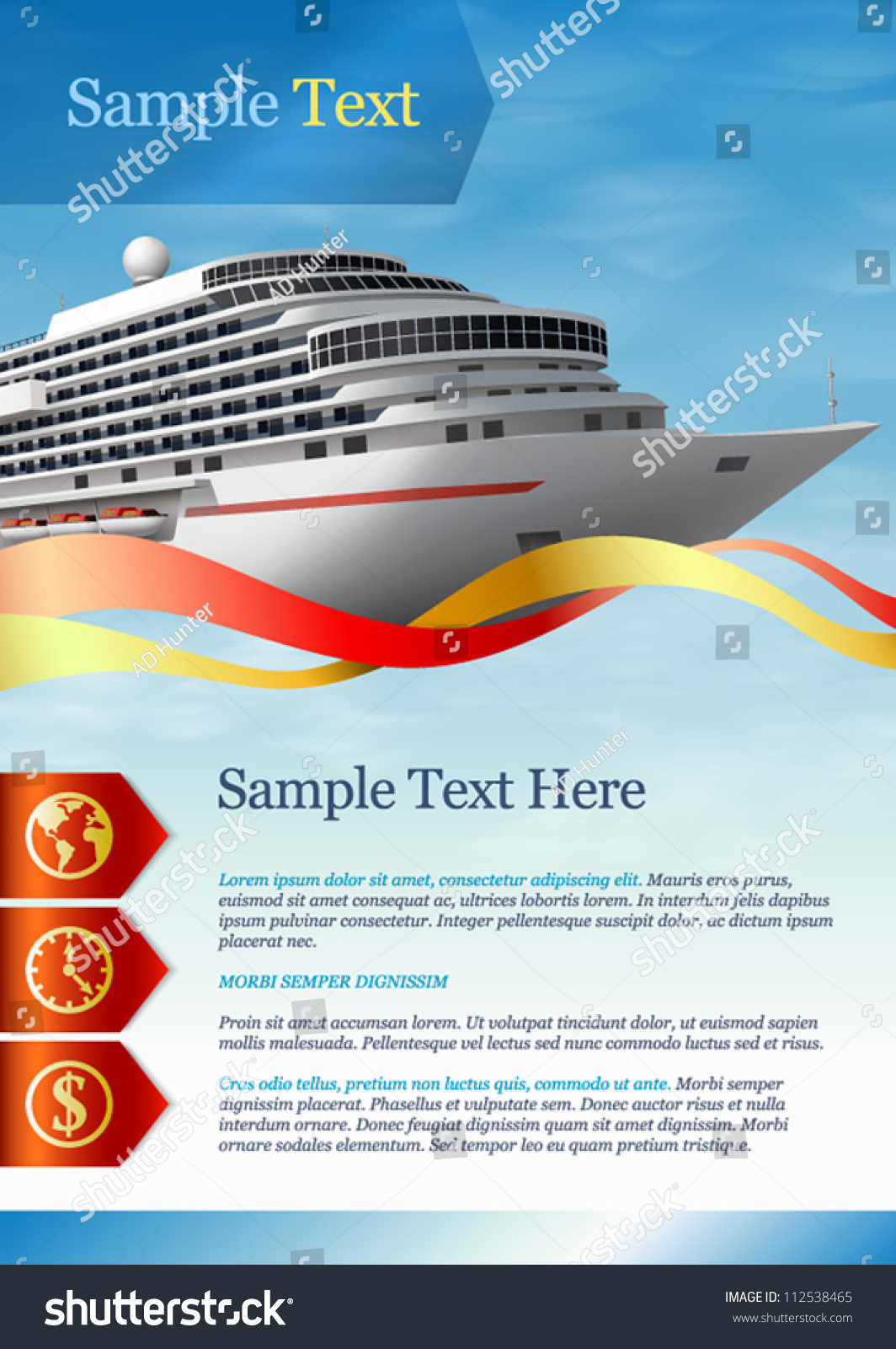 Template advertising cruise liner stock vector 112538465 for Cruise ship brochure templates