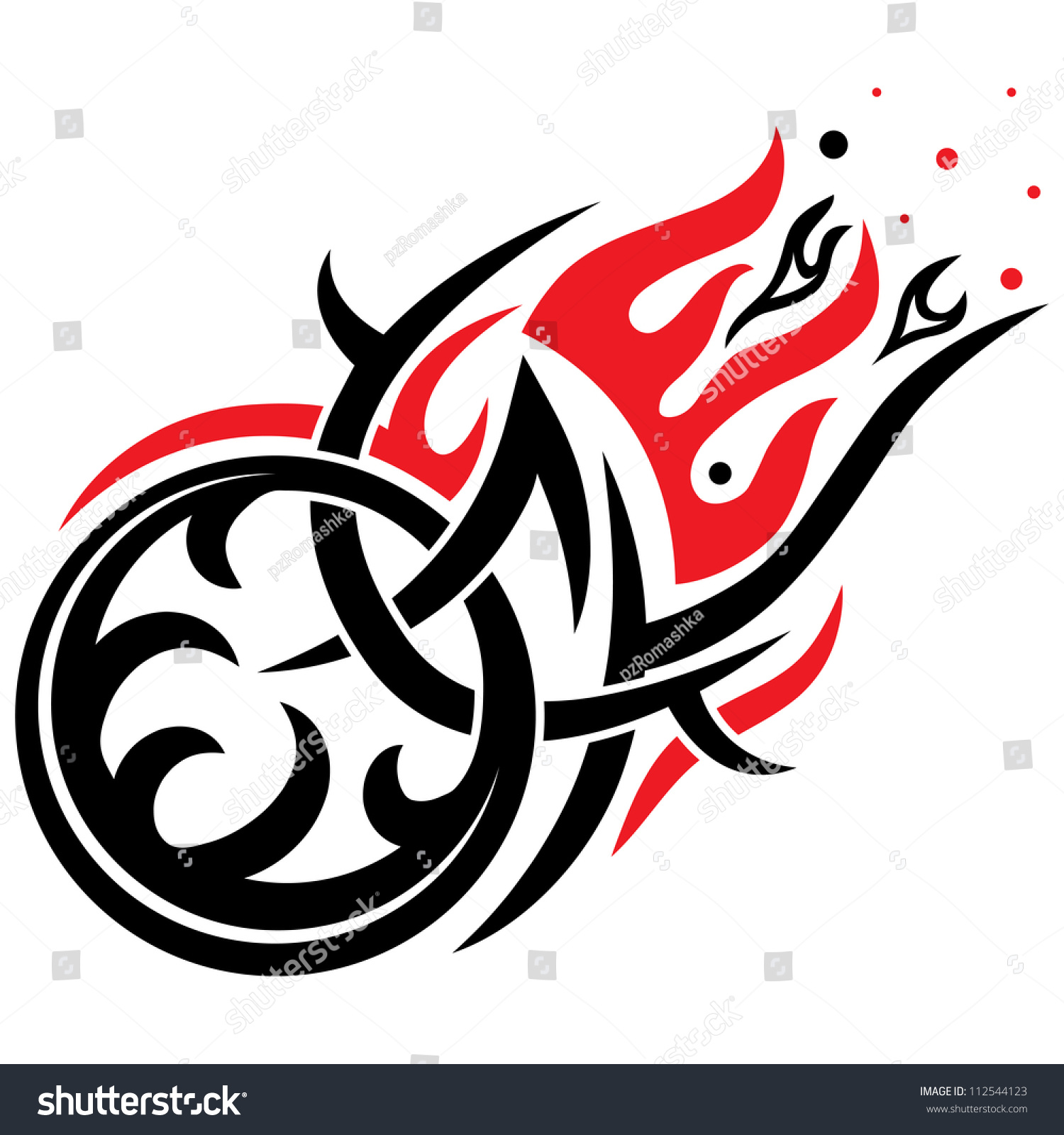 Motorcycle clip art with flames - Stylized Motorcycle Wheel With Flames Vector Gothic Black And Red Pattern