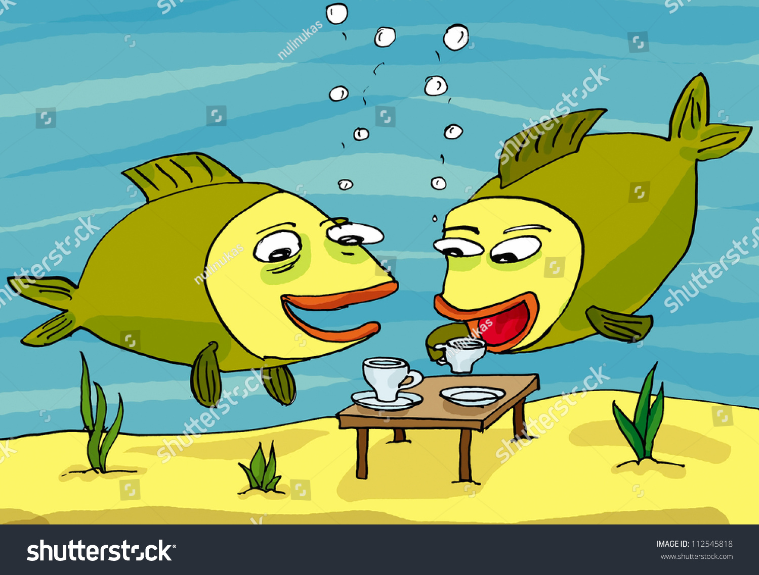 Two fishes drinking water cartoon stock illustration for Do fish drink water