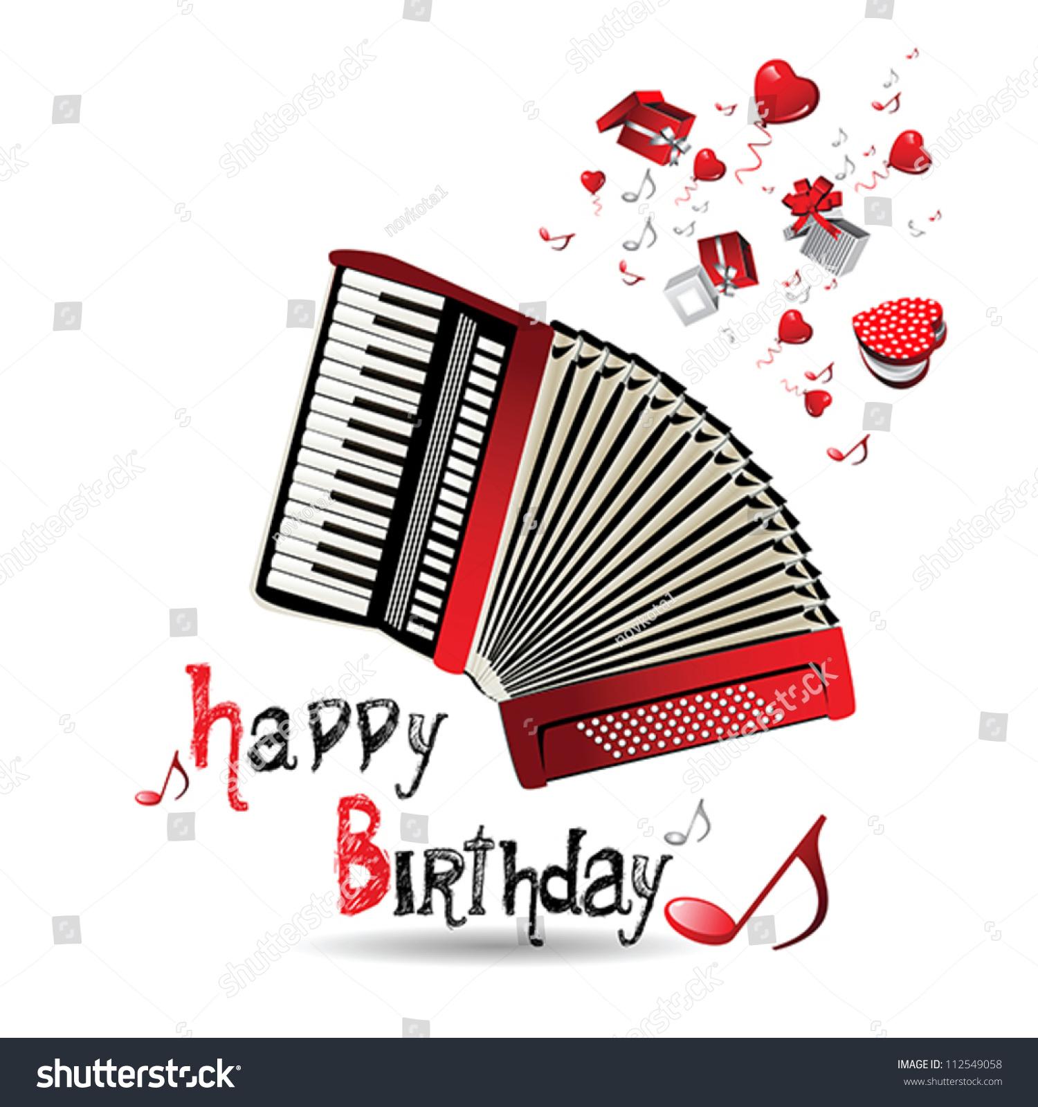 Happy Birthday Accordion Stock Vector 112549058
