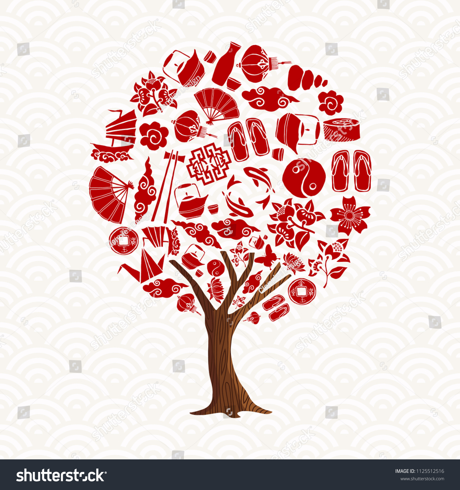 Asian Culture Tree Concept Illustration Traditional Stock Vector ...