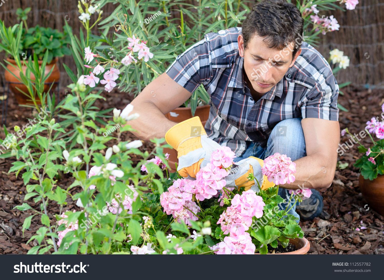 Man pruning flowers and gardening male home gardener leisure