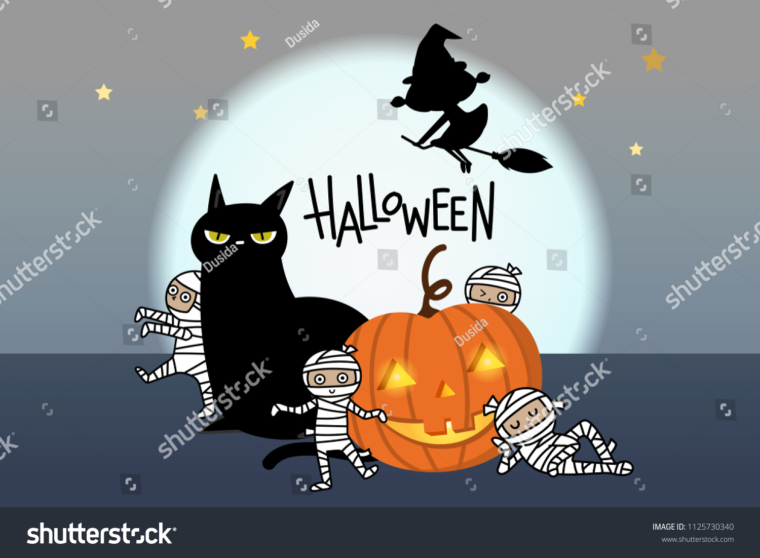 Happy Halloween Greeting Card With Pumpkin, Black Cat, Scary Mummy And Witch.  Holidays