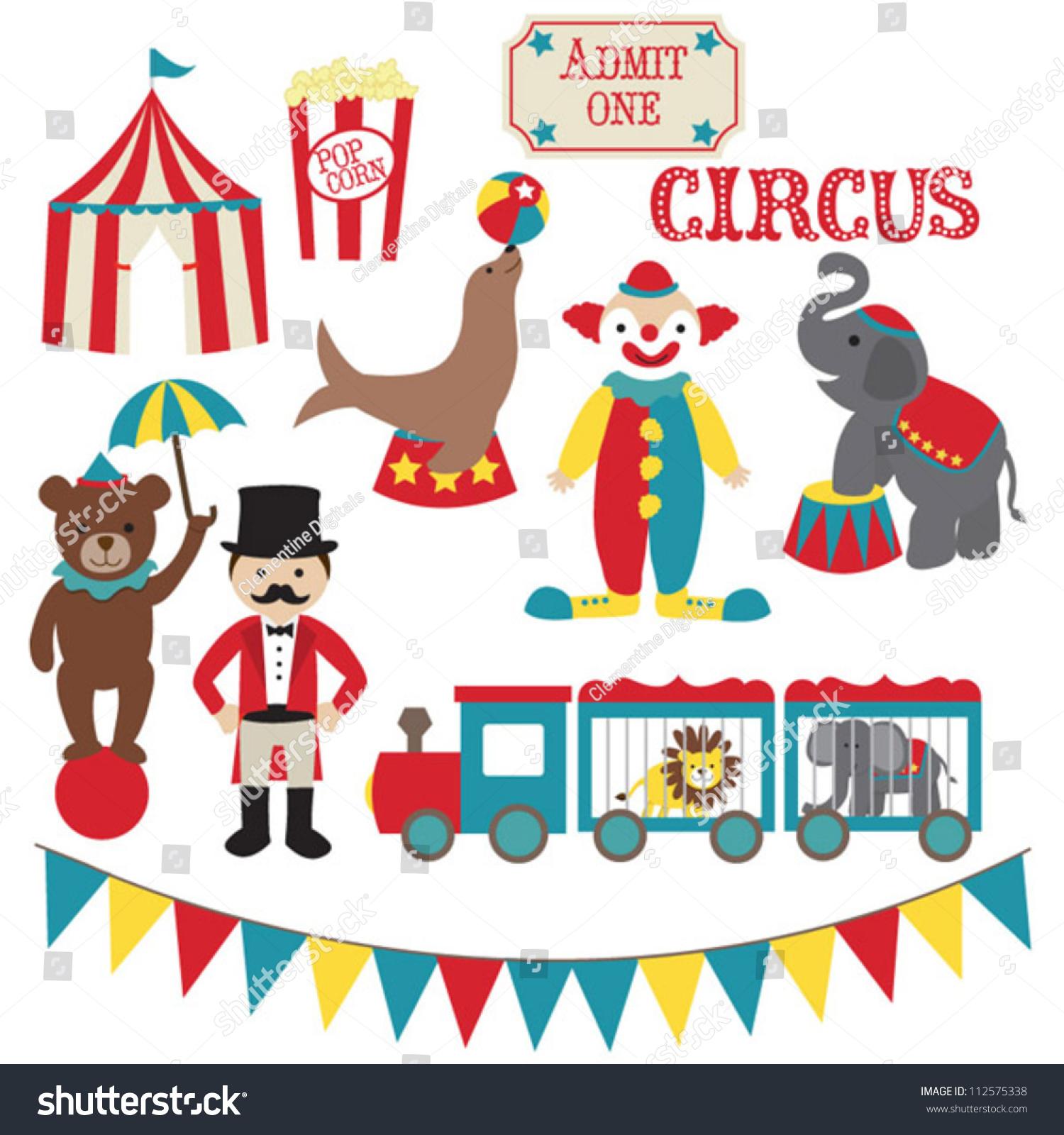 Circus Vector Clip Art Set Stock Vector 112575338 - Shutterstock