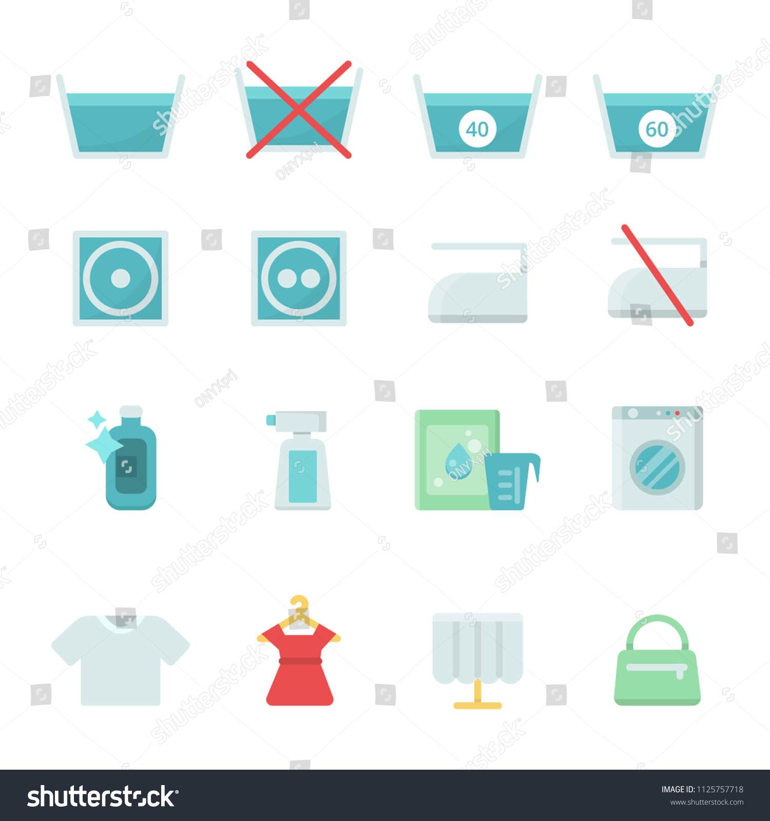 Dry Cleaning Symbols Various Washing Vector Stock Vector Royalty