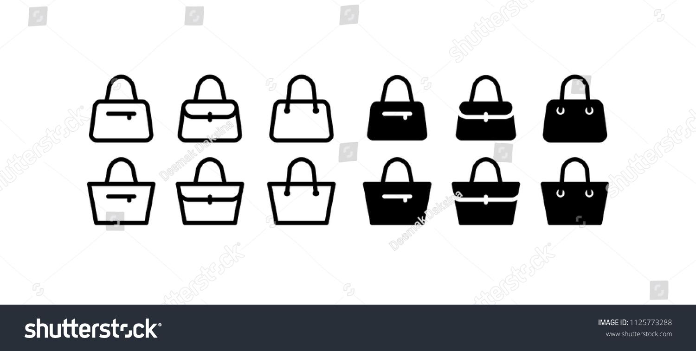 d0938c8887 Handbag Icon Design Vector Symbol Set Stock Vector (Royalty Free ...