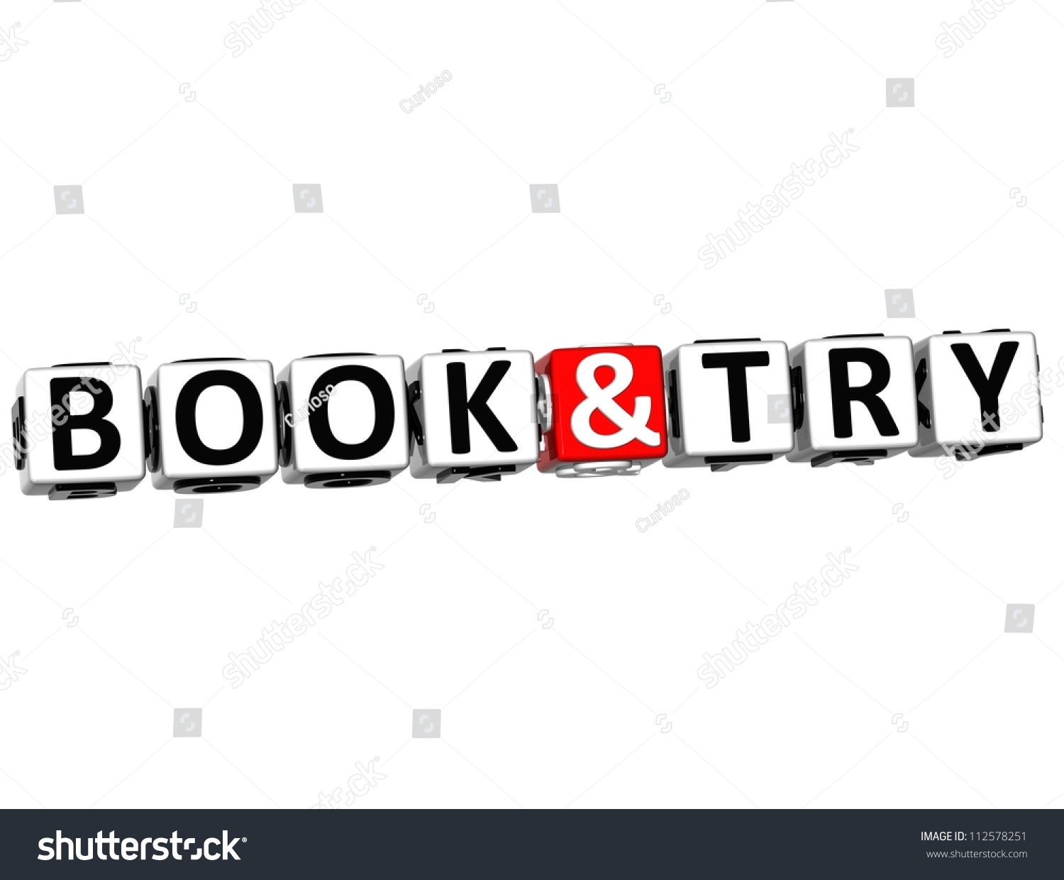 3d Book And Try Button Click Here Block Text Over White
