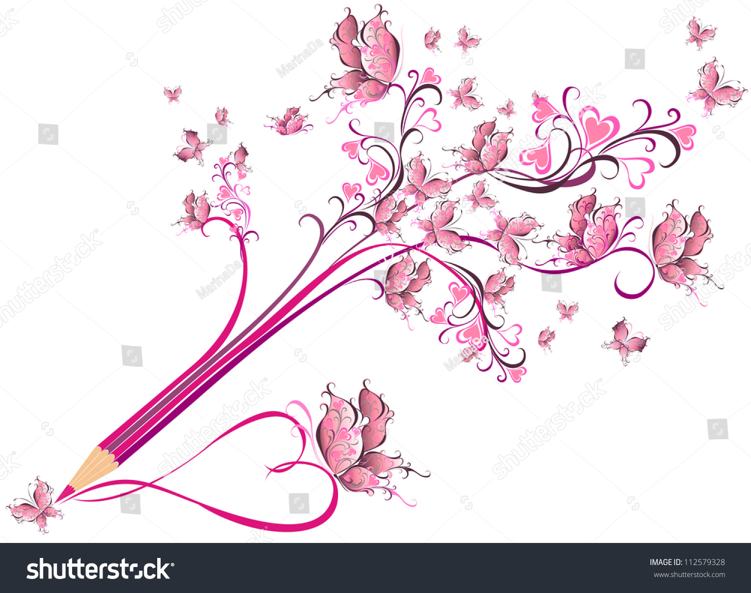 Notebook And Pen Sketch Stock Vector Art More Images Of: Creative Pencil Whit Floral Ornate Butterfly Stock Vector