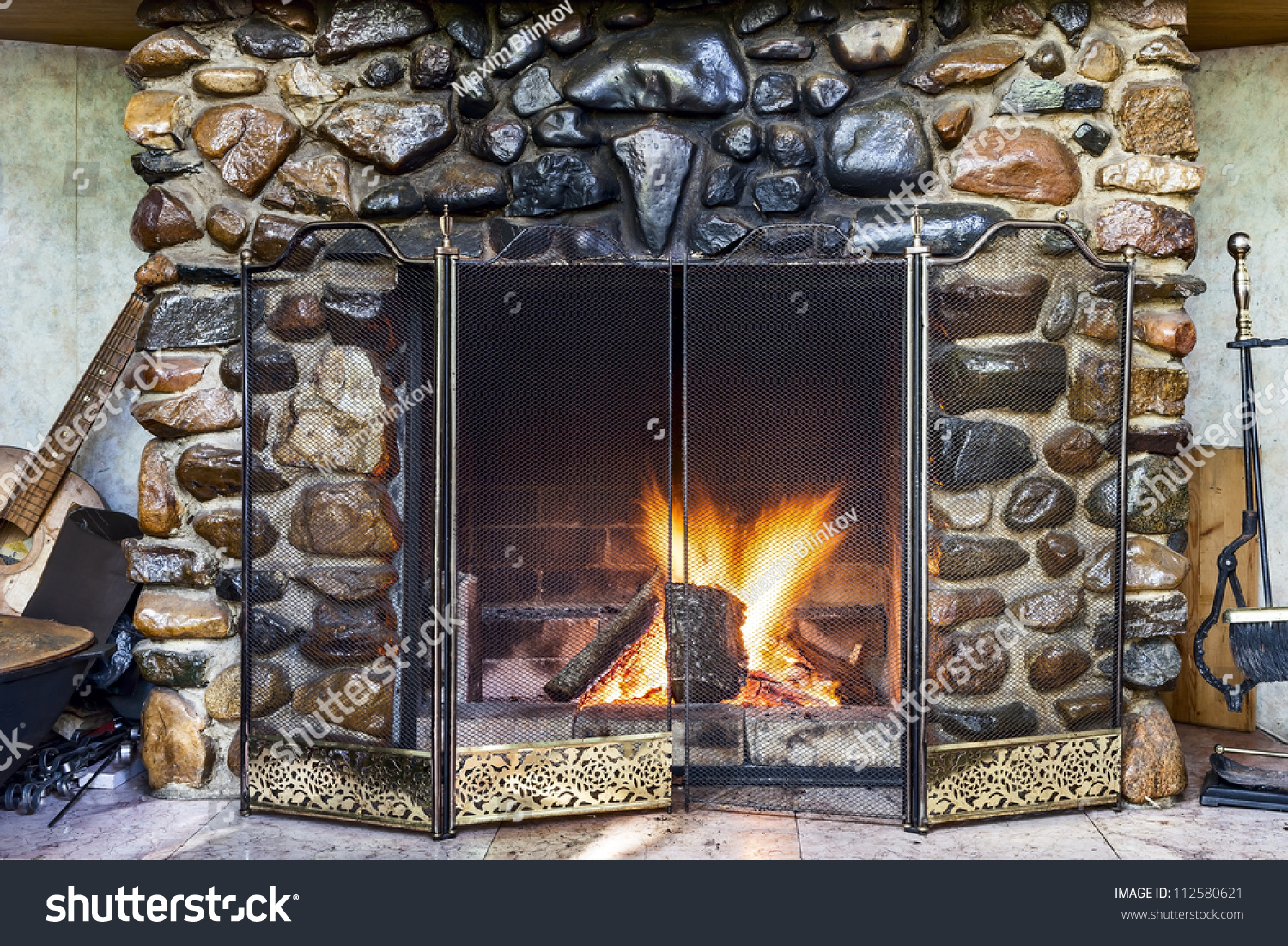 stone fireplace country house fire blazing stock photo 112580621