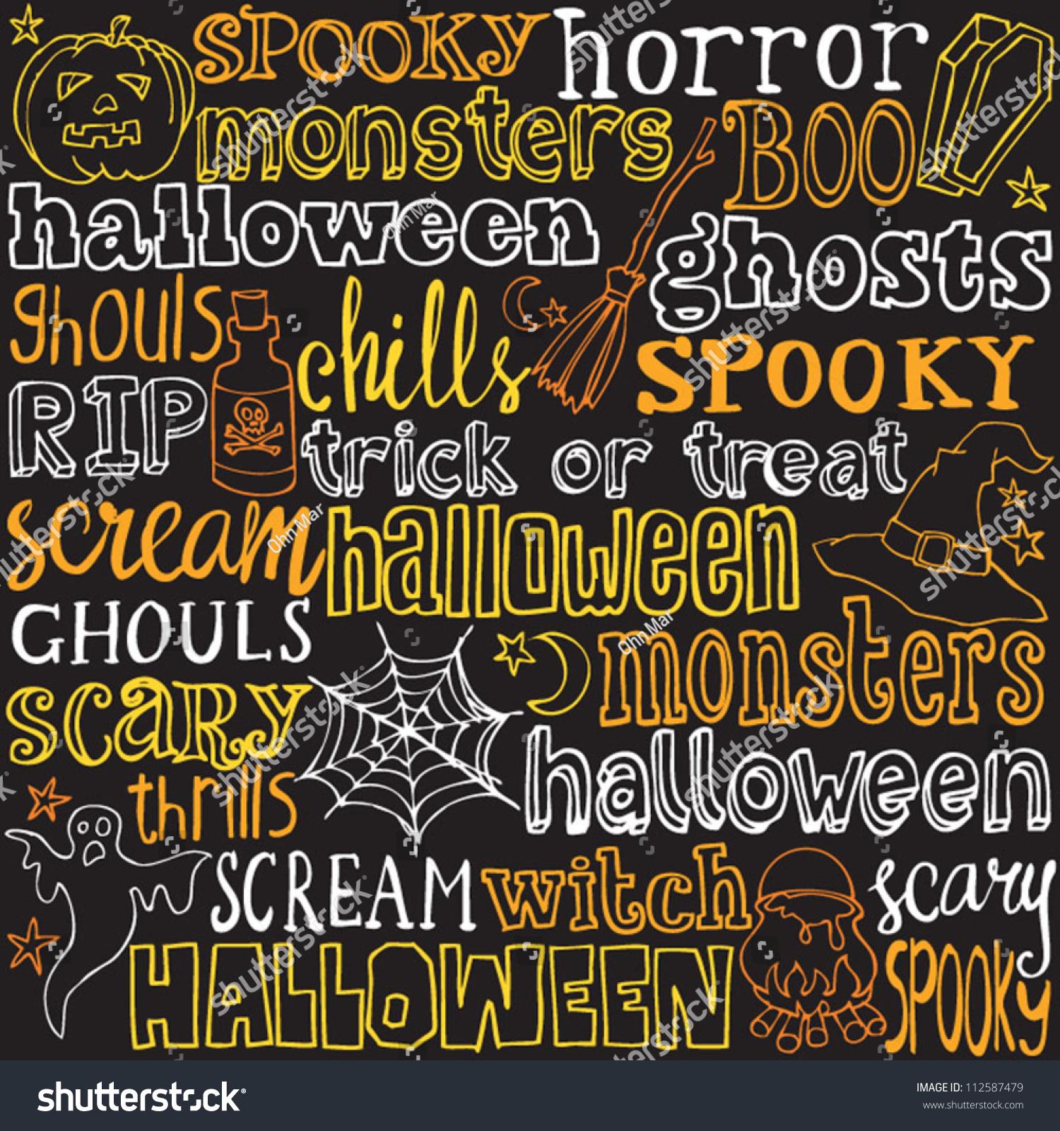 Halloween Words Icons Background Vector Stock Vector 112587479 ...