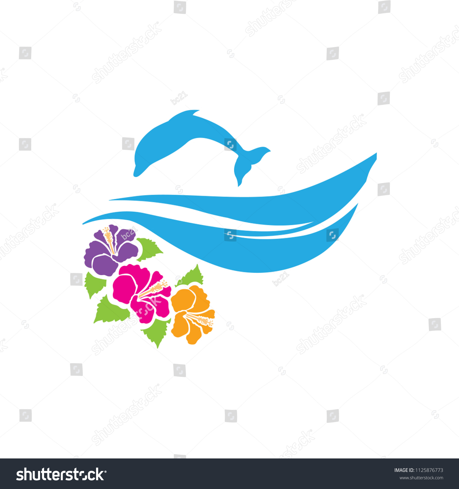Dolphin Waves Hibiscus Flower Logo Icon Stock Vector Royalty Free