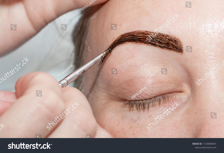 Coloring Eyebrows Henna Paint Salon Cosmetologist Stock Photo Edit
