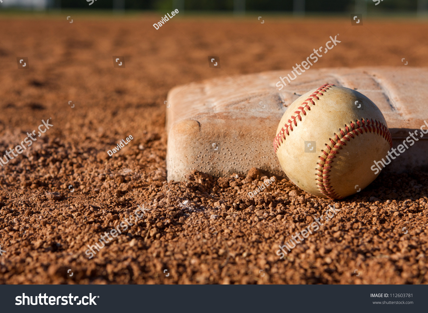 Baseball Near First Base Room Copy Stock Photo 112603781