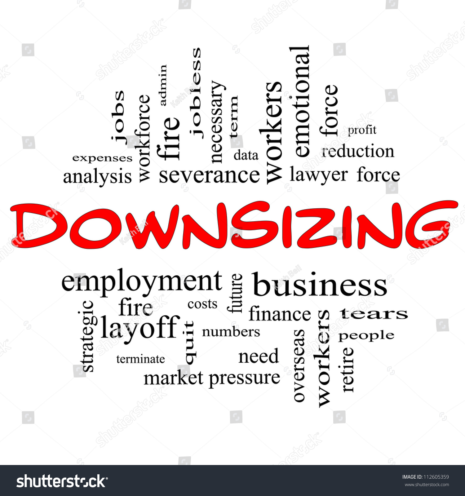 downsizing word cloud concept in red and black letters great save to a lightbox
