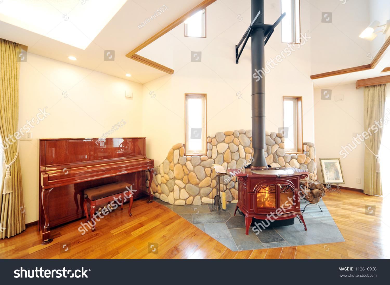 old fashioned wood burning stove roaring stock photo 112616966