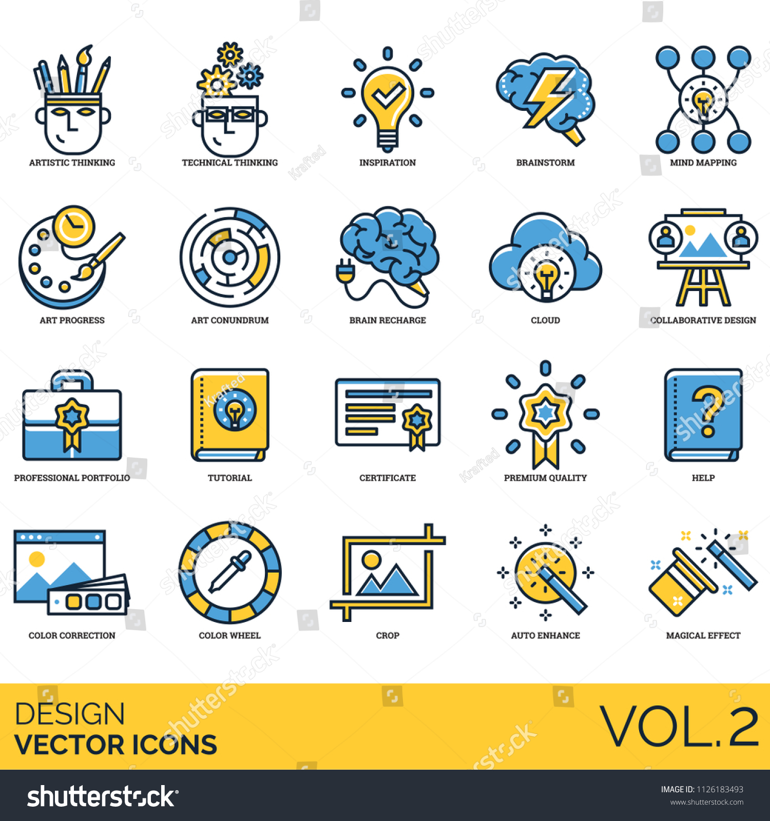 Design Icon Set Artistic Technical Thinking Stock Vector Royalty Free 1126183493