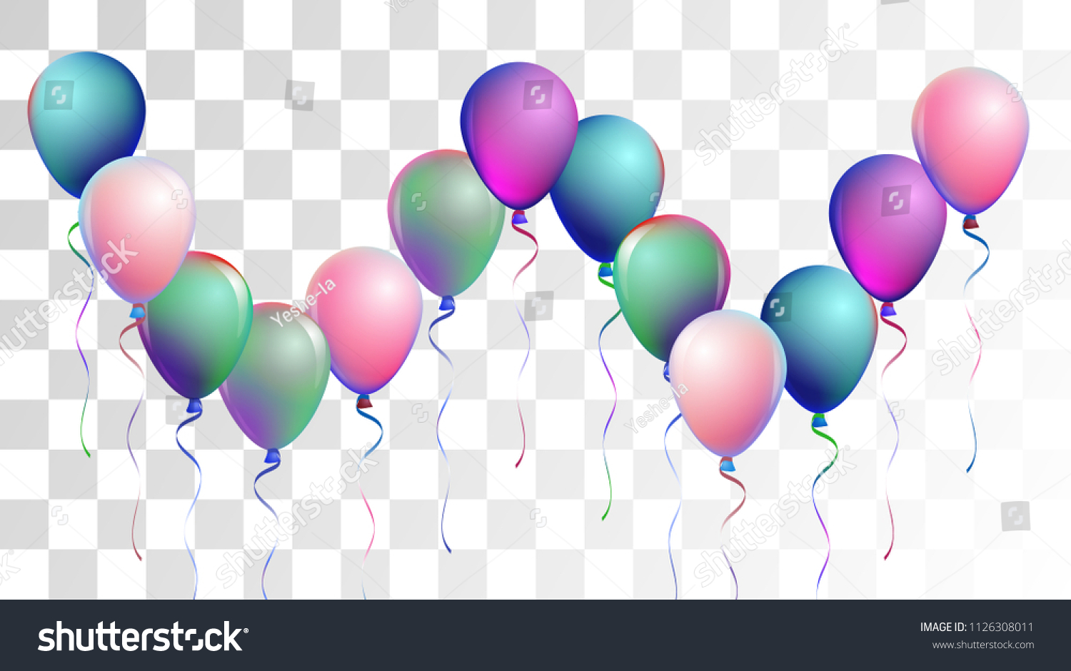 vibrant realistic helium vector balloons flying happy birthday new year party background funky
