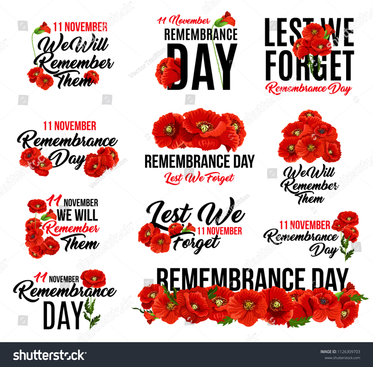 Remembrance Day Poppy Flower Icon Memorial Stock Vector Royalty