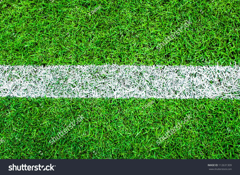 green grass background soccerfootball field set stock photo 112631309