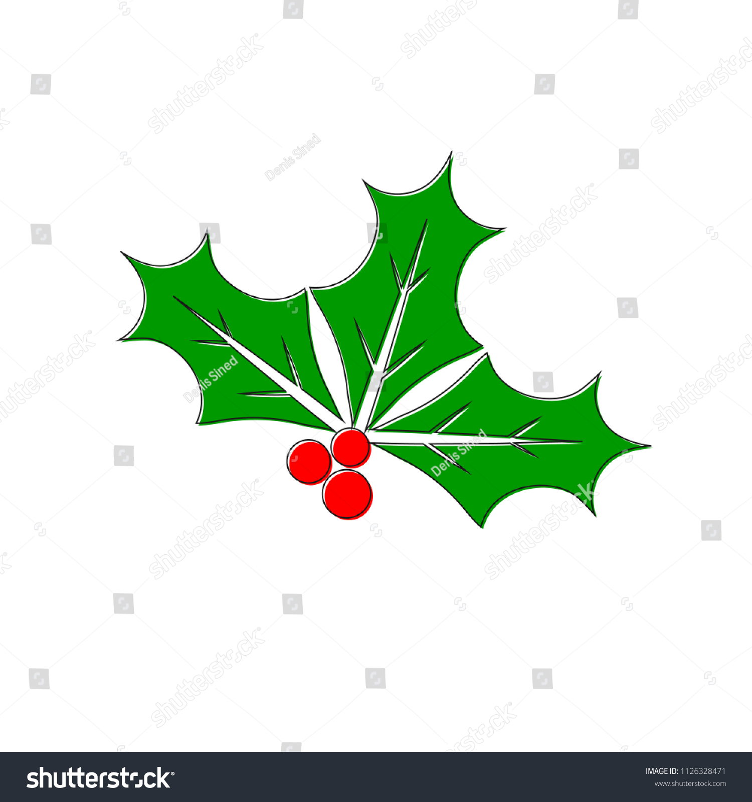 holly berry icon christmas mistletoe outline stock vector royalty