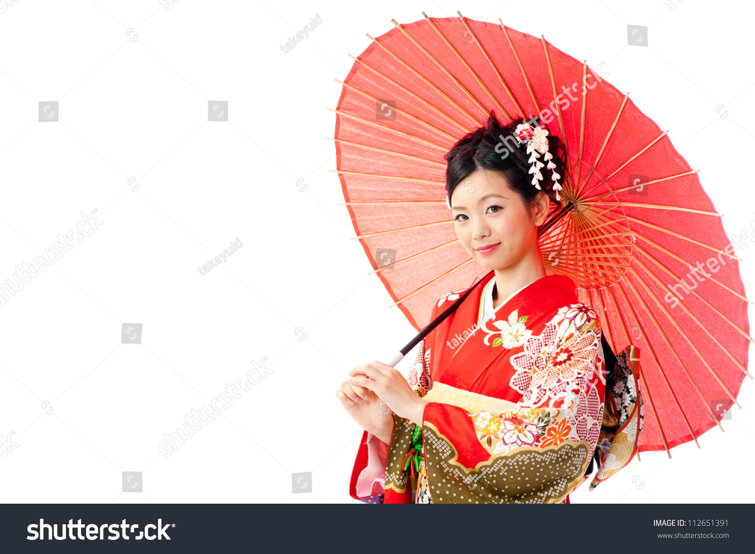 5940cab373876 attractive asian woman wearing traditional japanese kimono and red umbrella  on white background