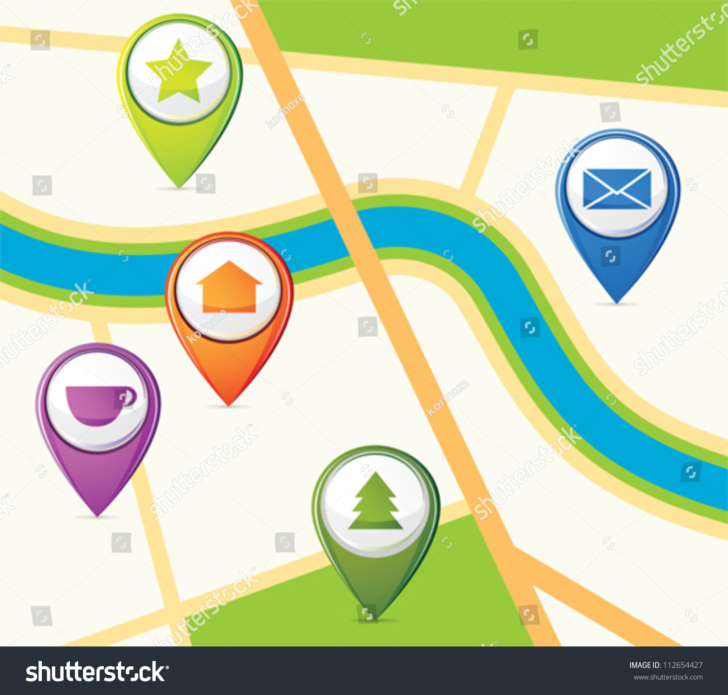 Simple Map Few Pins Stock Vector 112654427 - Shutterstock
